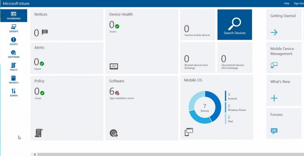 Microsoft Intune User Interface