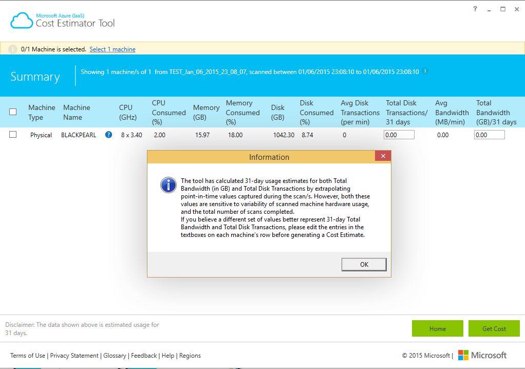 Microsoft Azure (IaaS) Cost Estimator Tool