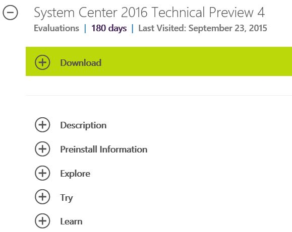 System Center Technical Preview 4