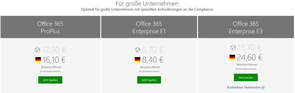 Office 365 Deutschland Pläne und Preíse