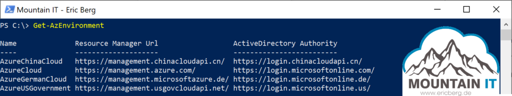 Available environments for Azure PowerShell authentication