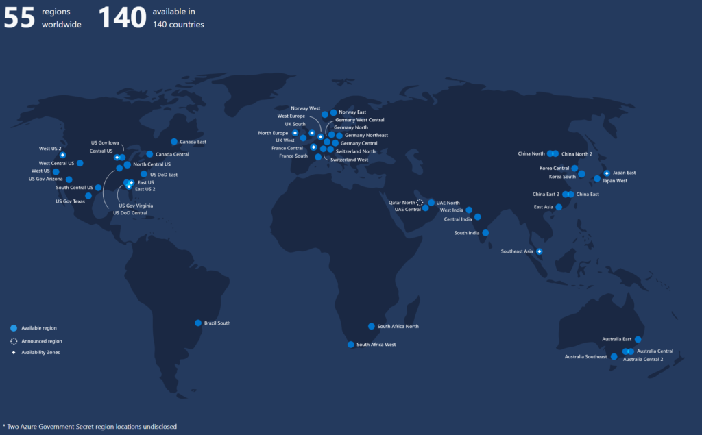 Azure Regions Map