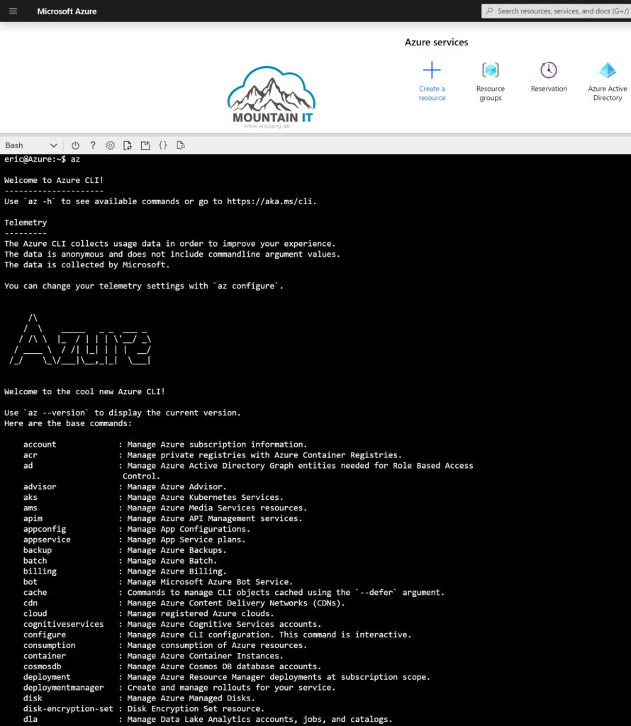 Portal Experience of Azure Cloud Shell