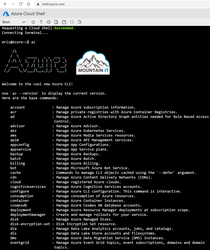 Azure Cloud Shell Browser access