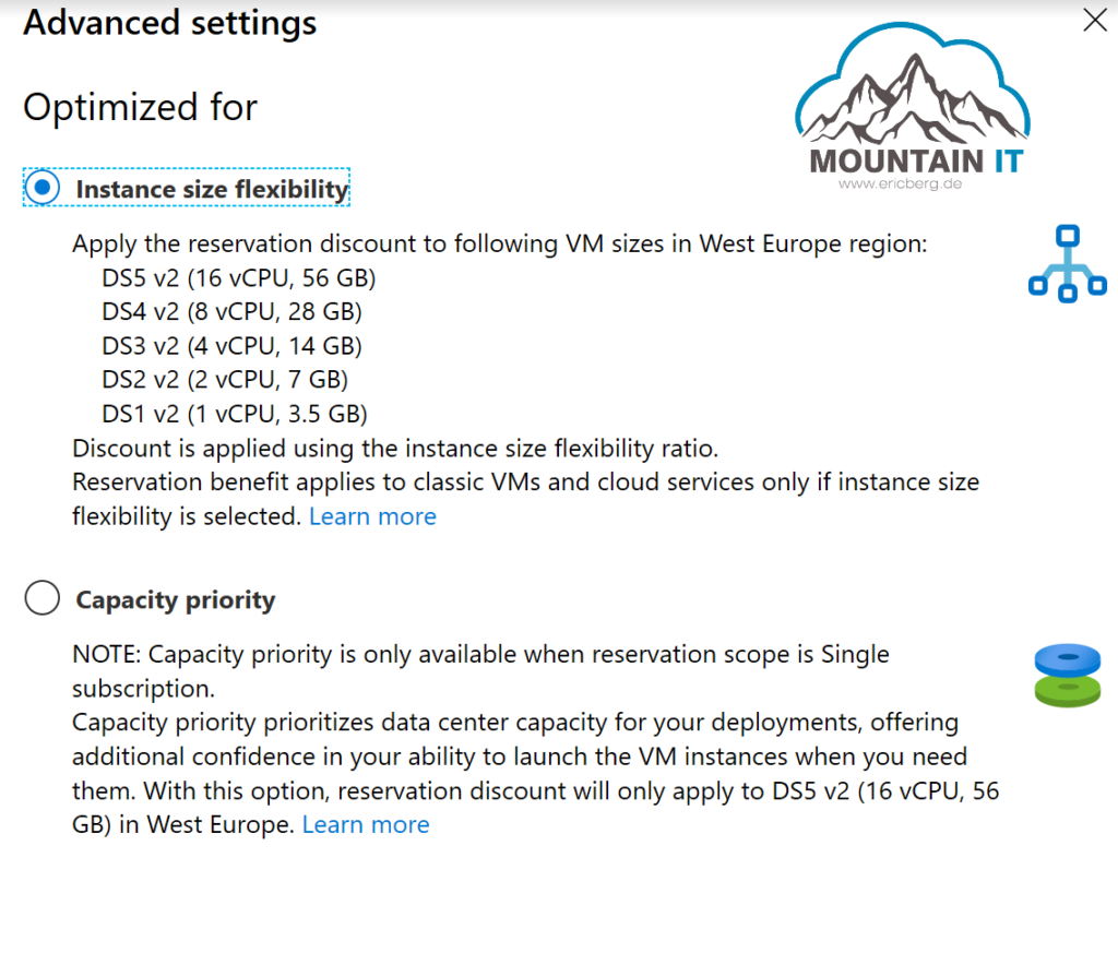VM reservations advanced settings