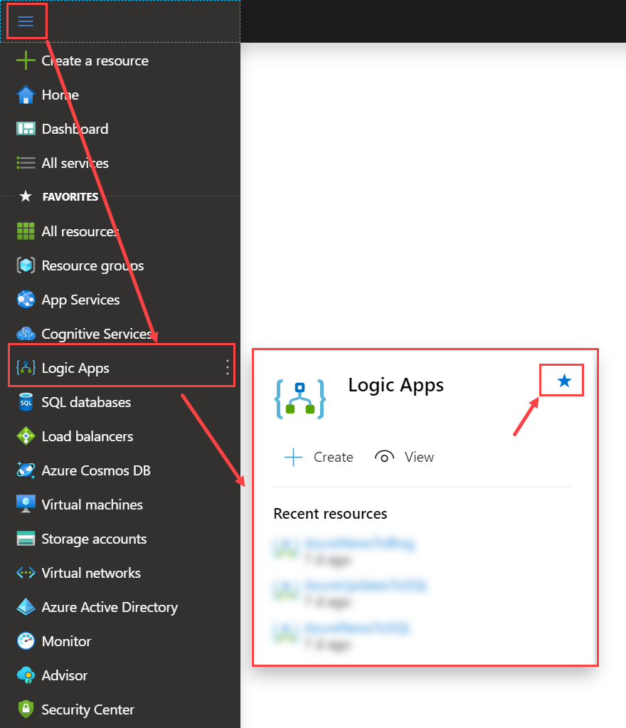 add favorites to Azure Menu