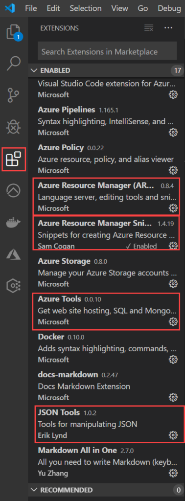 Visual Studio Code Azure and JSON extensions